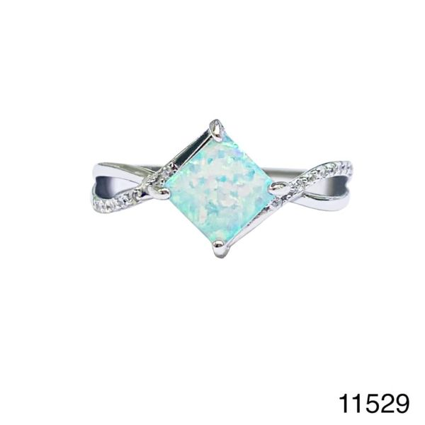 925 Sterling Silver Simulated White Opal ring Solitaire square stone -11529-k17