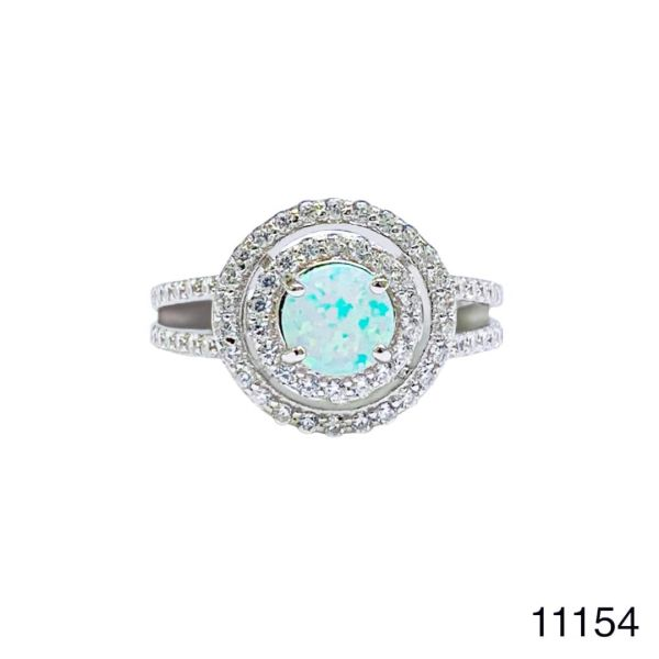 925 Sterling Silver Simulated White Opal ring Solitaire HALO ROUND stone -11154-k17