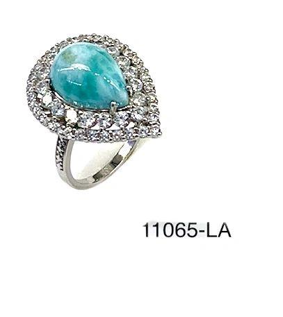 925 Sterling Silver natural Larimar pear shape ring -11065-la
