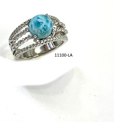 925 Sterling Silver natural Larimar ball ring -11100-la