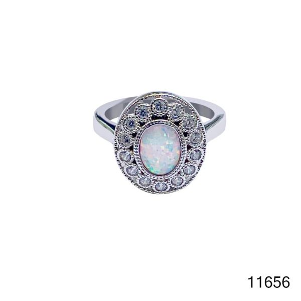 925 Sterling Silver Simulated white Opal Vintage Ring oval shape stone -11656-k17
