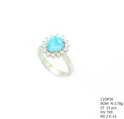11op30 Sterling Silver oval shape Opal stone Solitaire micro setting ring