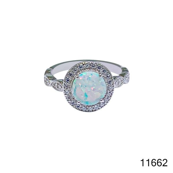 925 Sterling Silver Simulated white Opal Vintage Ring round shape stone -11662-k17