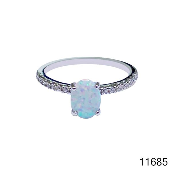925 Sterling Silver Simulated White Opal ring Solitaire oval stone -11685-k17
