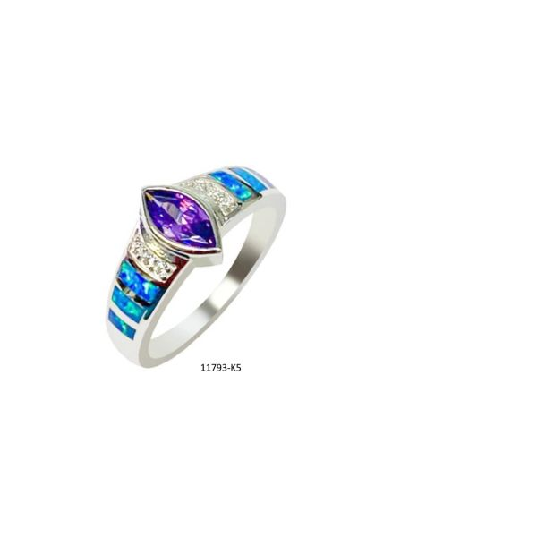 925 Sterling Silver Simulated Blue Opal ring with Amethyst Color cz marquise stone -11793-k5-cz09