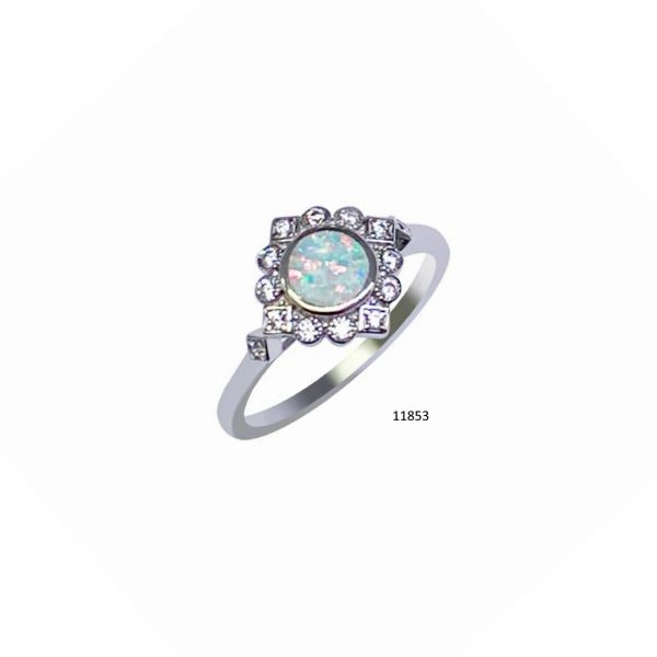 925 Sterling Silver Simulated Opal ring vintage style -11853-k5
