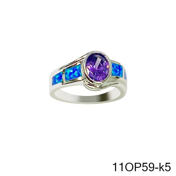 925 Sterling Silver Simulated Opal ring vintage style -11OP59-k5-AMT