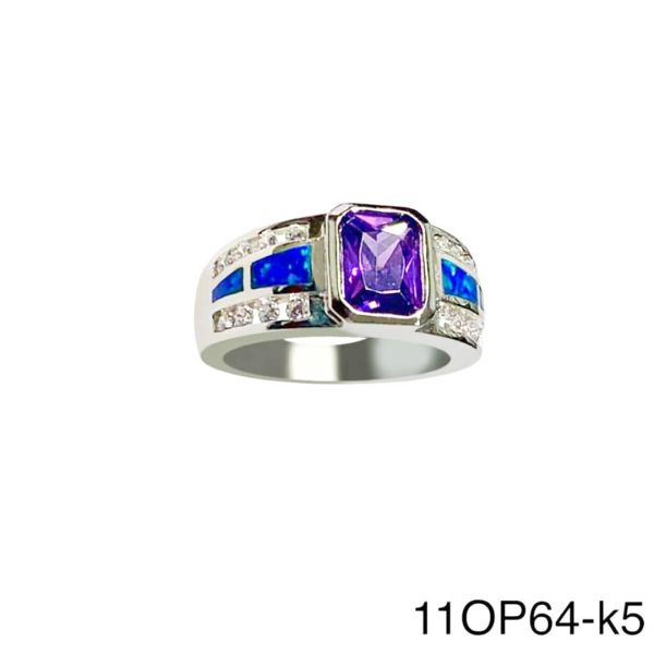 925 Sterling Silver Simulated Opal ring SQUARE style WITH AMETHYST CENTER STONE -11OP64-k5-AMT