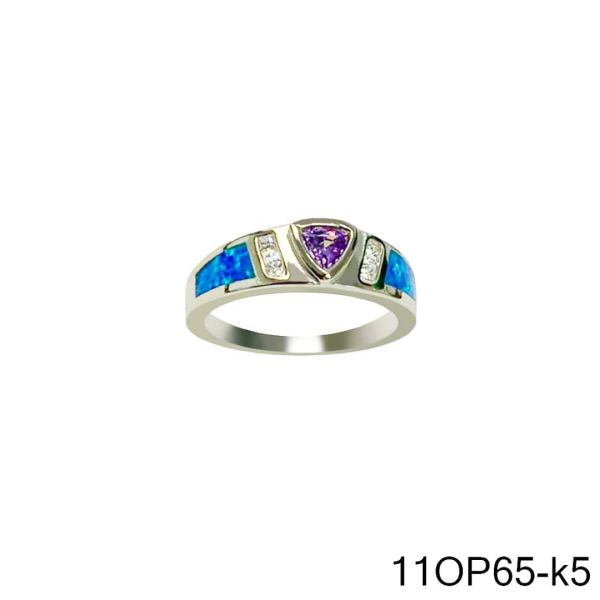 925 Sterling Silver Simulated Opal ring Triangle style WITH AMETHYST CENTER STONE -11OP65-k5-AMT