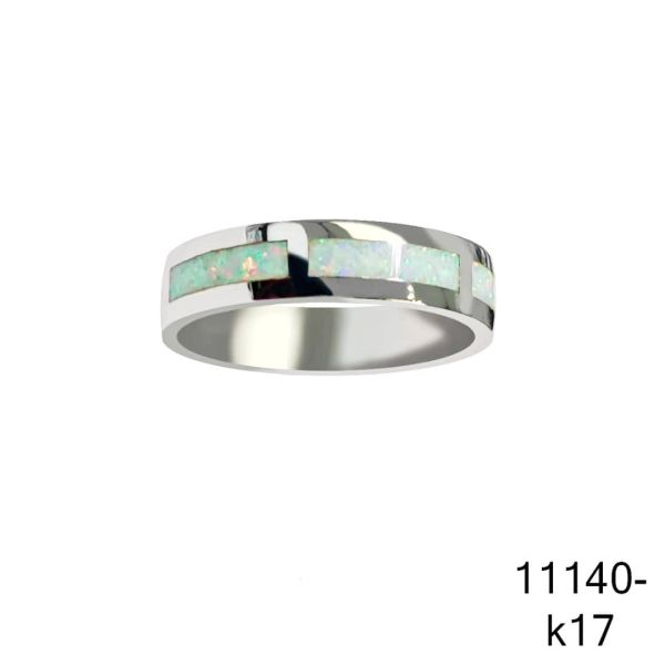 925 Sterling Silver Simulated Opal Ring With Inlaid Stone 6mm band ring -11140-k17