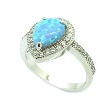 11op31 Sterling Silver Drop shape Opal stone Solitaire micro setting ring