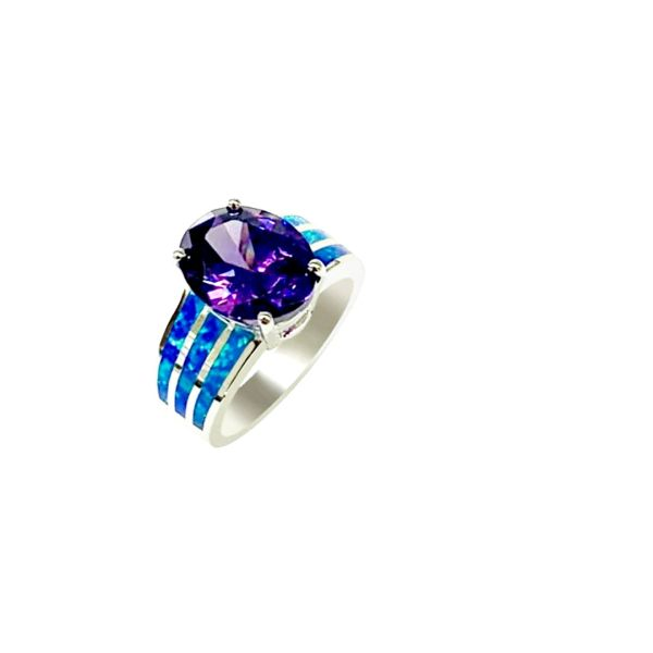 925 Sterling Silver Simulated inlaid Opal Ring With cenetr stone ring -11342-k5-amt