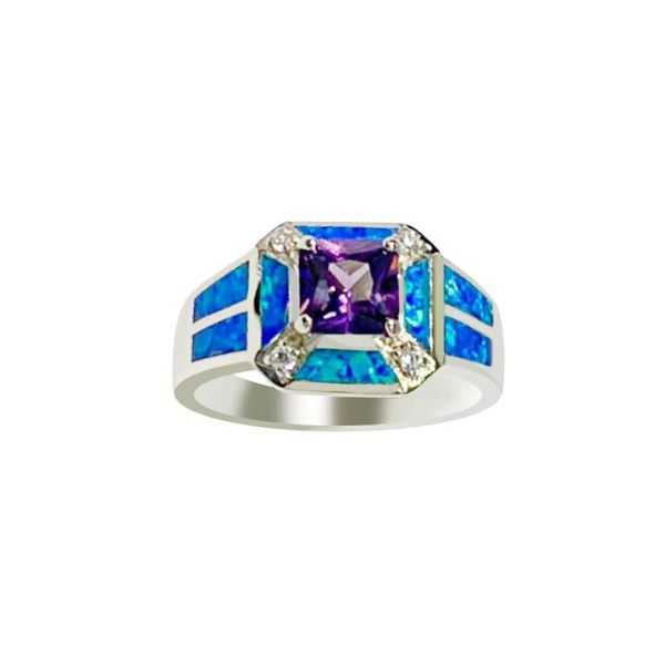 925 Sterling Silver Simulated inlaid Opal Ring With center stone ring-11op116-k5-amt