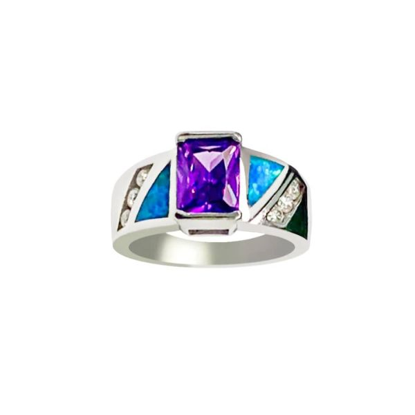 925 Sterling Silver Simulated Inlaid opal ring with square cz -11op93-k5