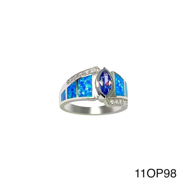 925 Sterling Silver Simulated Blue Opal marquise ring - 11op98-k5-amt