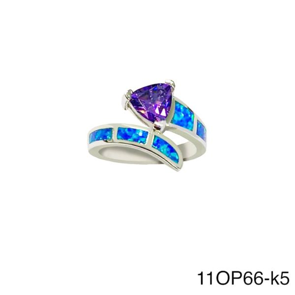 925 Sterling Silver Simulated Blue Opal triangle snake ring - 11op66-k5-amt