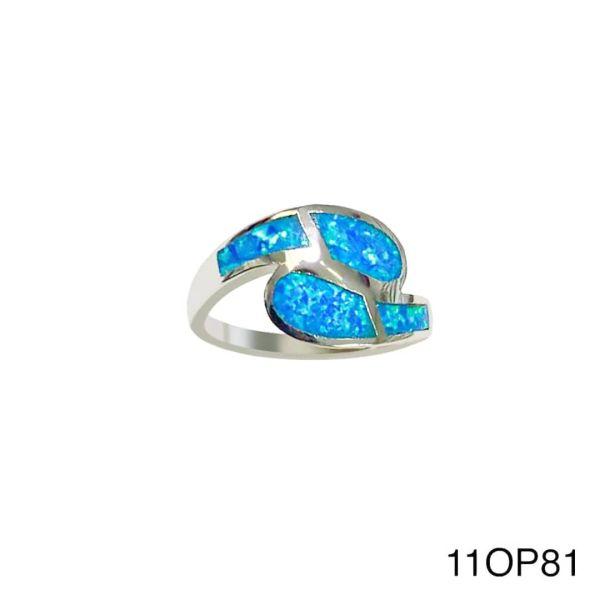 925 Sterling Silver Simulated Blue Opal wave ring - 11op81-k5