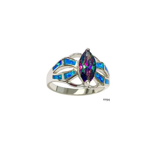 925 Sterling Silver Simulated Blue Opal ring marquise color cs stone - 11194-k5-amt