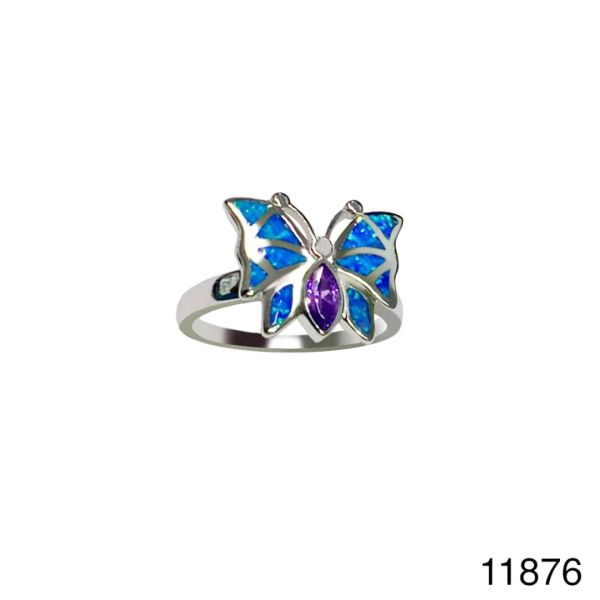 925 Sterling Silver Simulated Blue Opal ring butterfly color cs stone - 11876-k5-amt