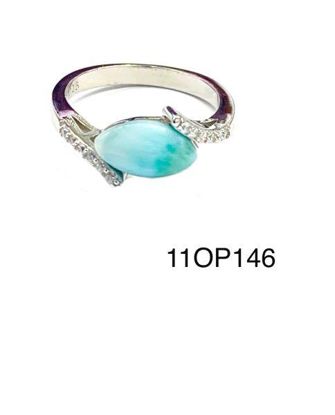 925 Sterling Silver AAA Grade Larimar stone ring in solitaire style ring - 11OP146-la
