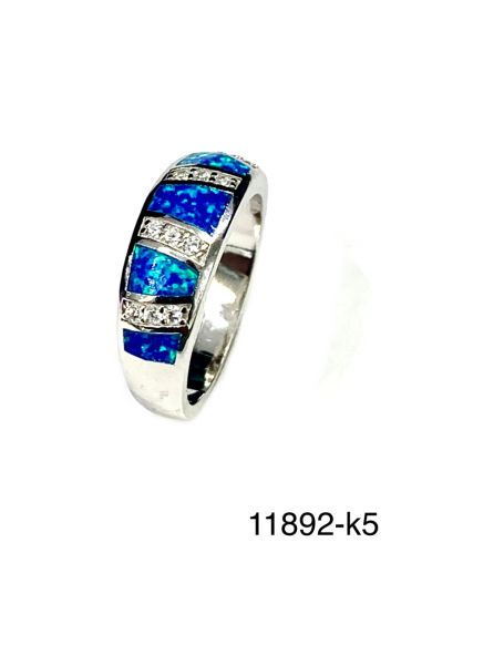 925 STERLING SILVER SIMULATED BLUE OPAL INLAID OPAL RING BAND- 11892-K5
