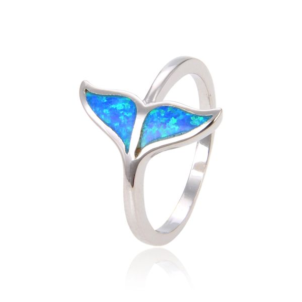925 STERLING SILVER SIMULATED BLUE OPAL INLAID OPAL RING WHALE TAIL- 11449-K5