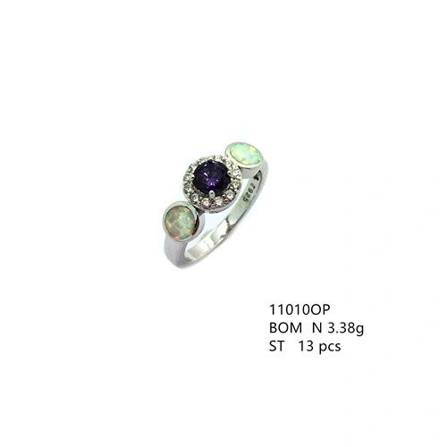 925 Sterling Silver Simulated white opal halo 3 stone ring with round amethyst cz stone-11010-k17