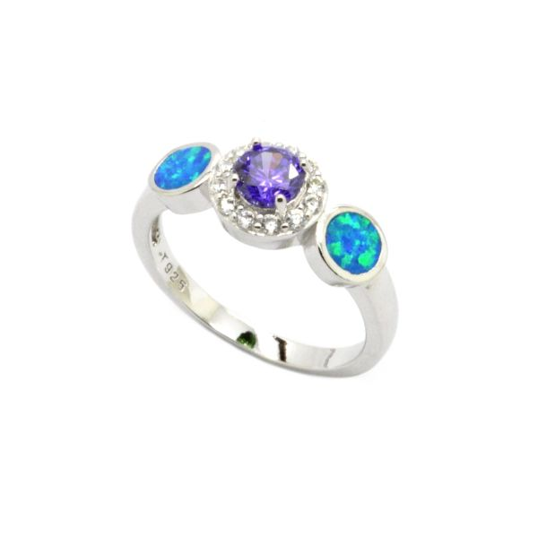925 Sterling Silver Simulated Blue opal halo 3 stone ring with round amethyst cz stone-11010-k5
