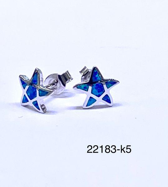 925 Sterling Silver Simulated Blue Opal starfish stud earrings-22183-k5