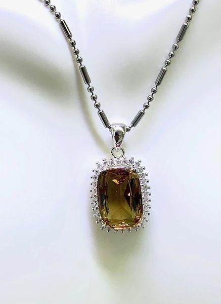 925 Sterling Silver Color Change Sultnite Stone emerald cut Pendant - 33436-ZL