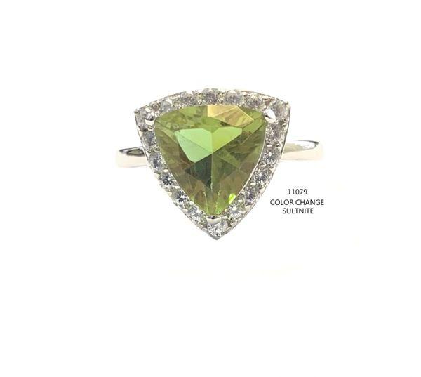 925 Sterling Silver Nano Color Change Sultnite Ring in Triangle shape-11079-ZL