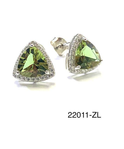 925 Sterling Silver Nano Color Change Sultnite Earrings in Triangle shape-22011-204-ZULTNITE