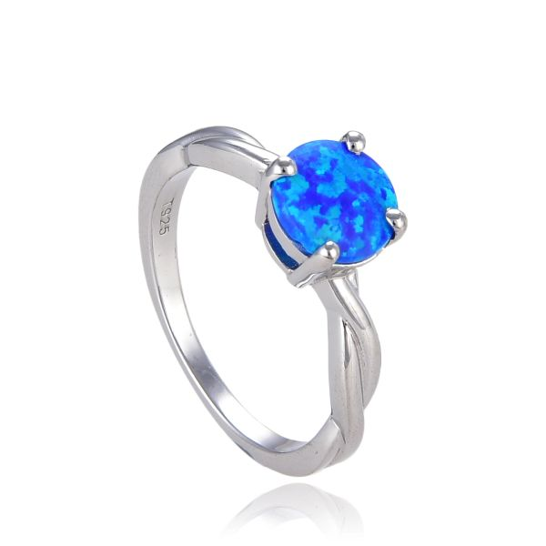 925 Sterling Silver Simulated Blue Opal ring Rope style Round 6mm stone -11514-k5