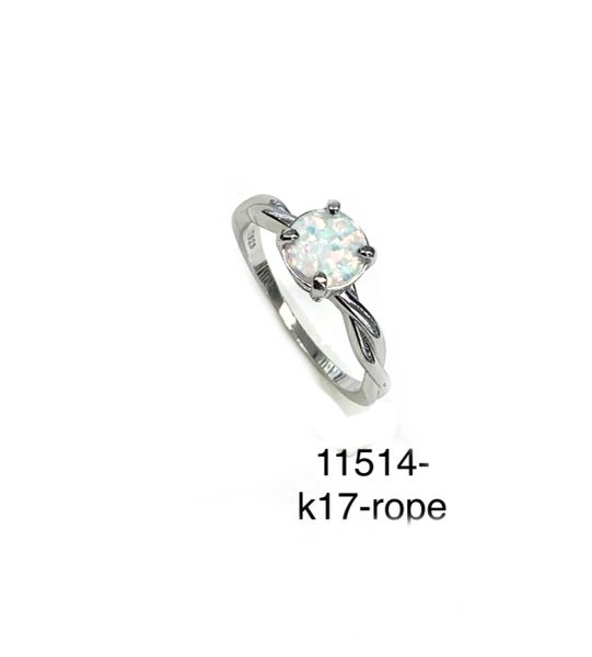 925 Sterling Silver Simulated White Opal ring Rope style Round 6mm stone -11514-k17