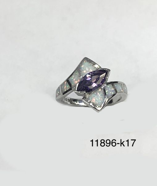 925 Sterling Silver Simulated White Opal ring Inlaid marquise CZ Amethyst stone -11896-k17