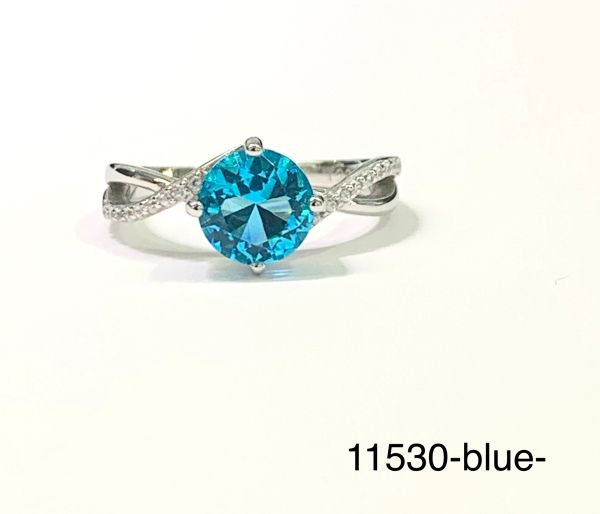 Sterling Silver Simulated Blue Topaz round stone infinity style rhodium ring-11530-BL