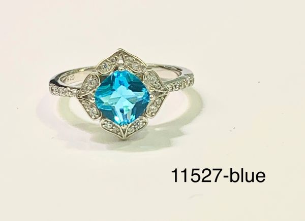 Sterling Silver Simulated Blue Topaz round stone Vintage style rhodium ring-11527-BL