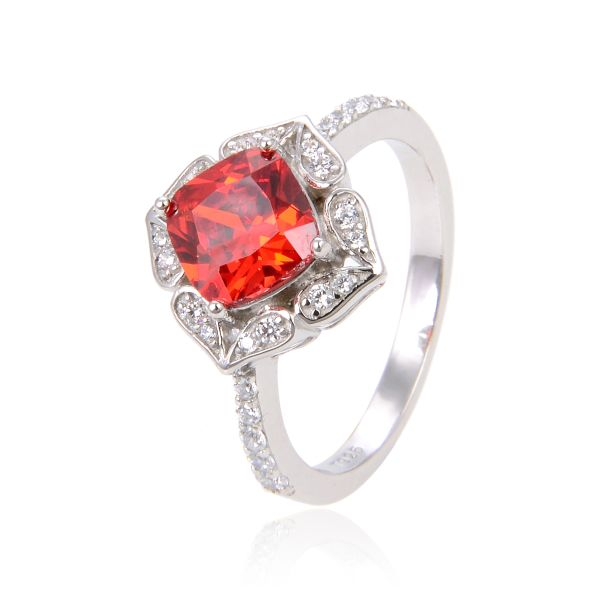 Sterling Silver Simulated Orange Red Garnet round stone Vintage style rhodium ring-11527-RD