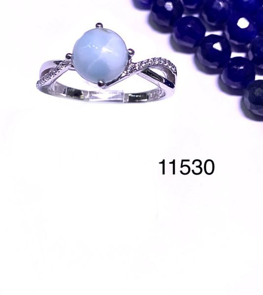 Sterling Silver TOP QUALITY NATURAL LARIMAR round stone infinity style rhodium ring-11530-LR