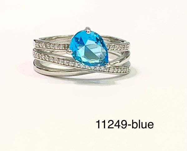 925 Sterling Silver Simulated Blue Topaz Rings Stacking rolling ring drop shape -11249-BL