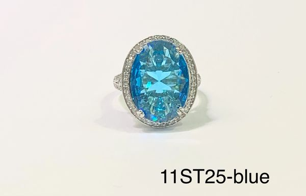 925Sterling Silver Simulated Blue Topaz oval Art decoR VINTAGE ring-11st25-bl