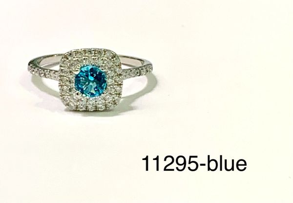 925Sterling Silver Simulated Blue Topaz HALO Art decor Round Stone Ring-11295-bl