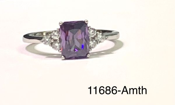 925 Sterling Silver simulated Amethyst Emerald cut solitaire stone ring-11686-AM