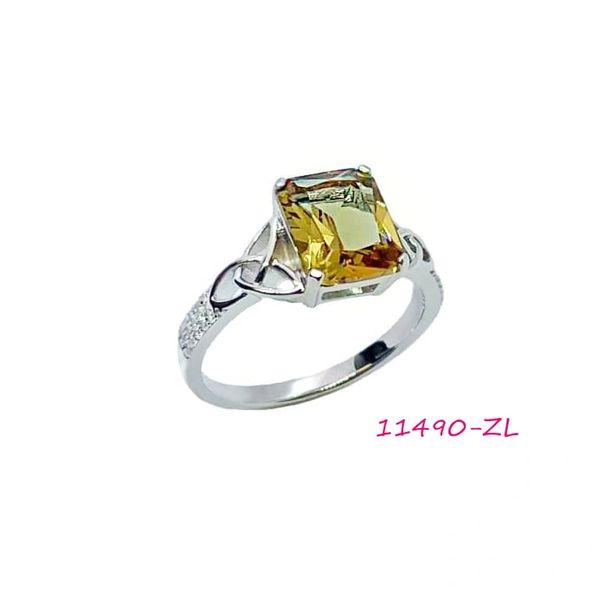 925 Sterling Silver Simulated nano zultnite Celtic Style Emerald cut stone Ring-11490-204 SULTNITE