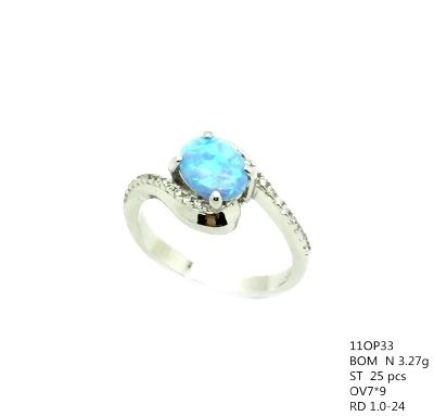 11op33 Sterling Silver Lab Opal ring with cz