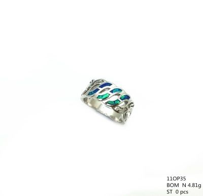 11op35 Sterling Silver Lab Opal inlaid wave ring
