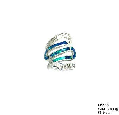 11op36 Sterling Silver Greek Key Inlaid Lab Opal Ring