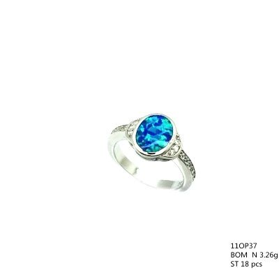 11op37 Sterling Silver Inlaid Opal Oval Ring