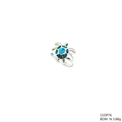 925 STERLING SILVER INLAID SIMULATED BLUE OPAL Turtle RING-SEA LIFE11OP76-K5