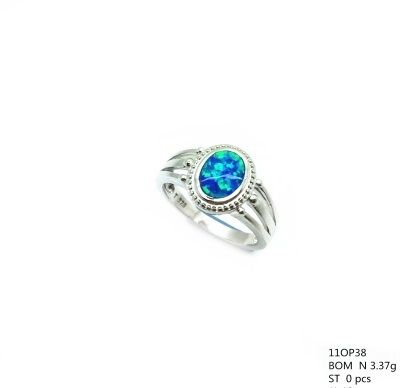 11op38 Sterling Silver Inlaid Opal Oval Ring